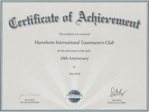 Certificate 10th anniversary